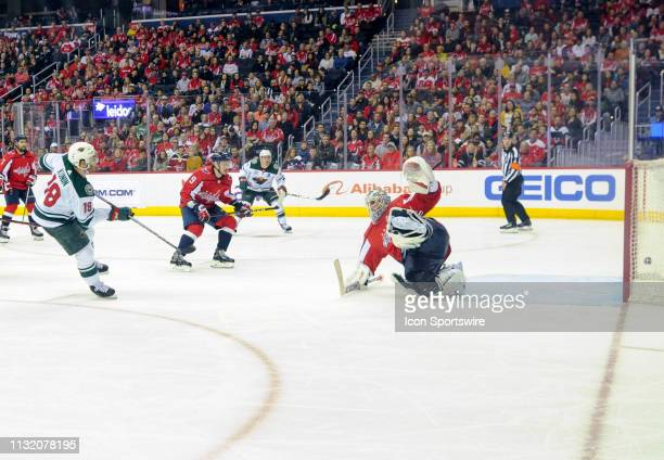 Minnesota Wild center Luke Kunin scores the game winning goal in the third period against Washington Capitals goaltender Braden Holtby on March 22 at...