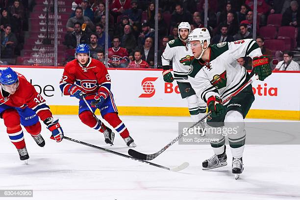 Minnesota Wild Defenceman Christian Folin passing the puck during the Minnesota Wild versus the Montreal Canadiens game on December 22 at Bell Centre...