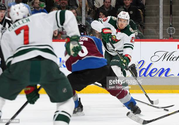 Minnesota Wild Defenceman Jonas Brodin makes a centering pass during a NHL game between the Minnesota Wild and Colorado Avalanche on November 24 2017...