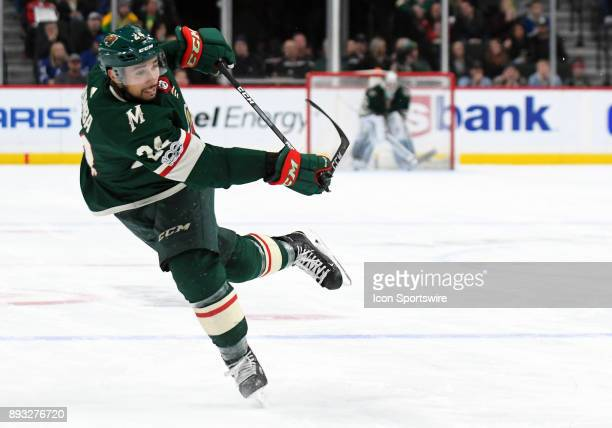 Minnesota Wild Defenceman Matt Dumba breaks shatters his stick on a shot from the point during a NHL game between the Minnesota Wild and Toronto...
