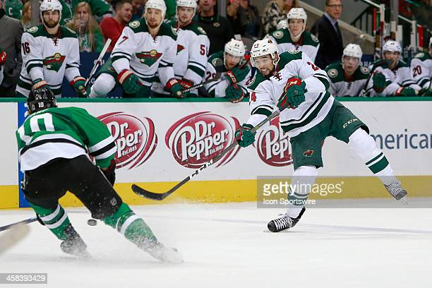 Minnesota Wild Defenceman Matt Dumba fires a shot during the NHL game between the Minnesota Wild and Dallas Stars on November 21 at the American...