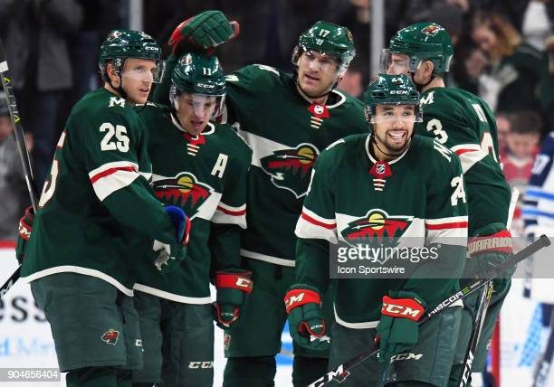 Minnesota Wild Defenceman Matt Dumba is all smiles after scoring his second goal of the night during a NHL game between the Minnesota Wild and...