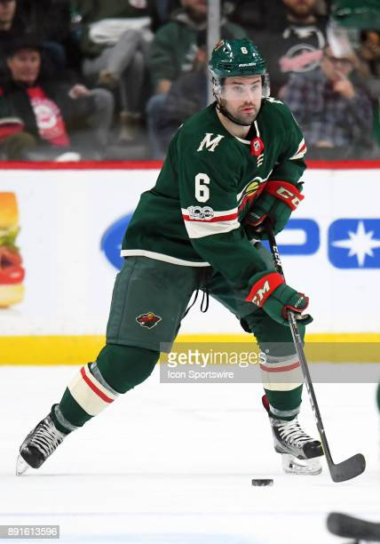Minnesota Wild Defenceman Ryan Murphy skates with the puck during a NHL game between the Minnesota Wild and Calgary Flames on December 12 2017 at...