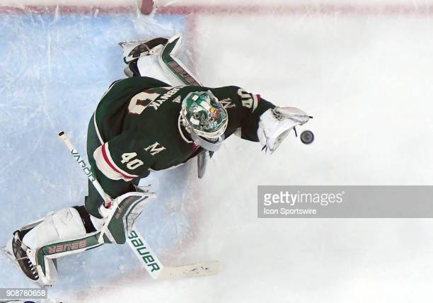 Minnesota Wild Goalie Devan Dubnyk makes a glove save during a NHL game between the Minnesota Wild and Tampa Bay Lightning on January 20 2018 at Xcel...