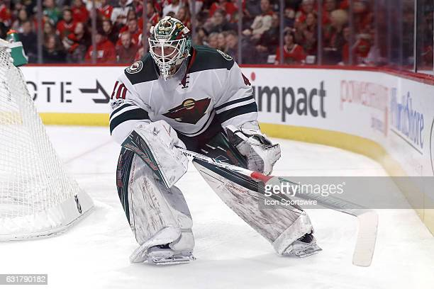 Minnesota Wild goalie Devan Dubnyk reacts after clearing the puck during the second period of a game between the Minnesota Wild and the Chicago...