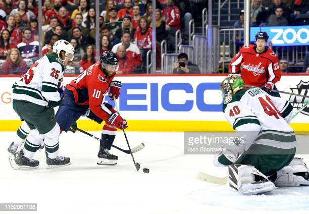 Minnesota Wild goaltender Devan Dubnyk gives up a second period goal by Washington Capitals right wing Brett Connolly on March 22 at the Capital One...