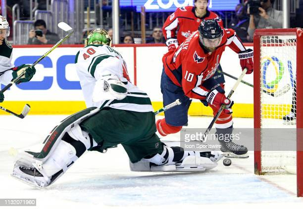Minnesota Wild goaltender Devan Dubnyk makes a second period save on a shot by Washington Capitals right wing Brett Connolly on March 22 at the...