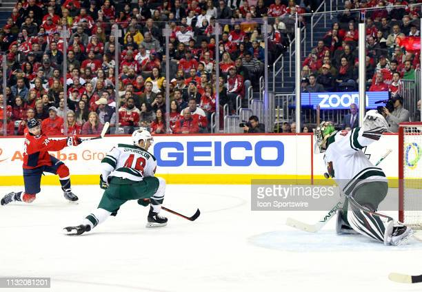 Minnesota Wild goaltender Devan Dubnyk makes a second period save on shot by Washington Capitals defenseman John Carlson on March 22 at the Capital...