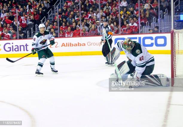 Minnesota Wild goaltender Devan Dubnyk makes a second period save against the Washington Capitals on March 22 at the Capital One Arena in Washington...