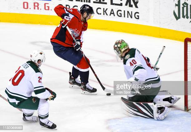 Minnesota Wild goaltender Devan Dubnyk makes a third period save on a shot by Washington Capitals center Evgeny Kuznetsov on March 22 at the Capital...