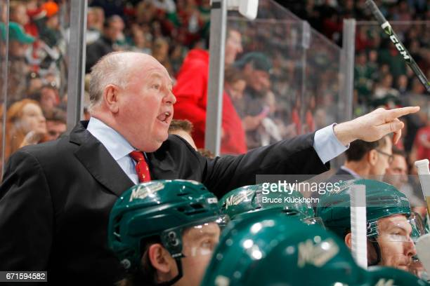 Minnesota Wild head coach Bruce Boudreau argues a call against the St Louis Blues in Game Five of the Western Conference First Round during the 2017...