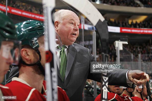 Minnesota Wild head coach Bruce Boudreau coaches his team during the game against the Arizona Coyotes on January 19 2017 at the Xcel Energy Center in...