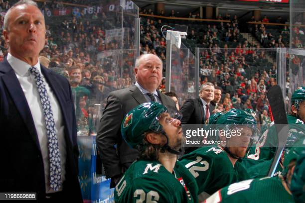 Minnesota Wild head coach Bruce Boudreau leads his team against the Chicago Blackhawks during the game at the Xcel Energy Center on February 4 2020...