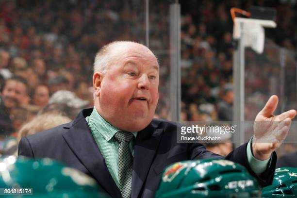 Minnesota Wild head coach Bruce Boudreau leads his team against the Columbus Blue Jackets during the game at the Xcel Energy Center on October 14...