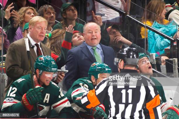 Minnesota Wild head coach Bruce Boudreau leads his team against the St Louis Blues during the game at the Xcel Energy Center on December 2 2017 in St...
