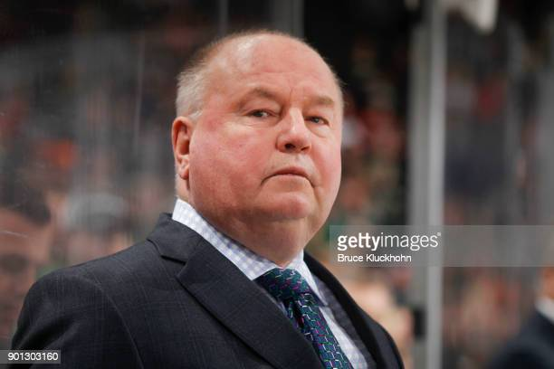 Minnesota Wild head coach Bruce Boudreau leads his team against the Dallas Stars during the game at the Xcel Energy Center on December 27 2017 in St...