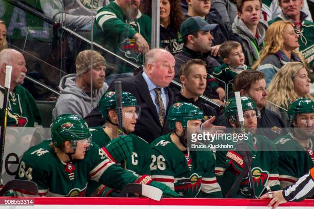Minnesota Wild head coach Bruce Boudreau leads his team against the Winnipeg Jets during the game at the Xcel Energy Center on January 13 2018 in St...