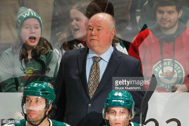 Minnesota Wild head coach Bruce Boudreau records his 500th career win against the Nashville Predators at the Xcel Energy Center on March 24 2018 in...