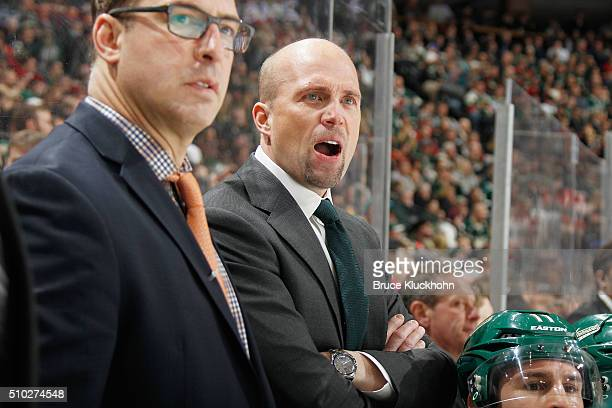 Minnesota Wild head coach Mike Yeo coaches his team during the game against the Dallas Stars on February 9 2016 at the Xcel Energy Center in St Paul...