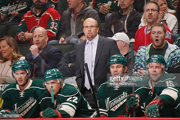 Minnesota Wild Head Coach Mike Yeo leads his team against the Montreal Canadiens during the game on November 1 2013 at the Xcel Energy Center in St...