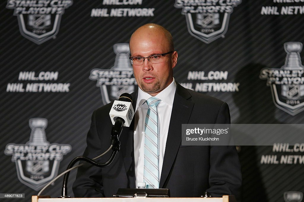 Minnesota Wild Head Coach Mike Yeo speaks during a press conference after his team defeated the Chicago Blackhawks in Game Four of the Second Round of the 2014 Stanley Cup Playoffs on May 9, 2014 at the Xcel Energy Center in St. Paul, Minnesota.