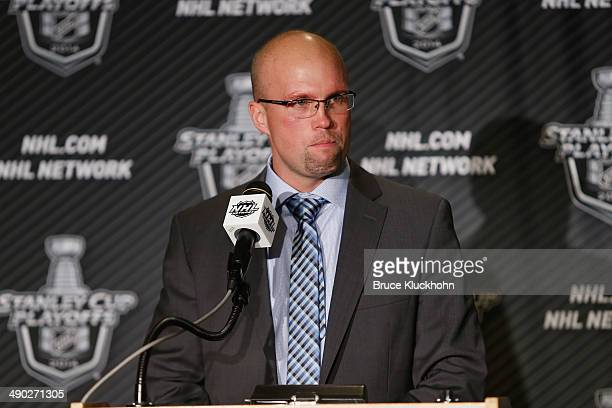 Minnesota Wild Head Coach Mike Yeo speaks during a press conference after being defeated by the Chicago Blackhawks in Game Six of the Second Round of...