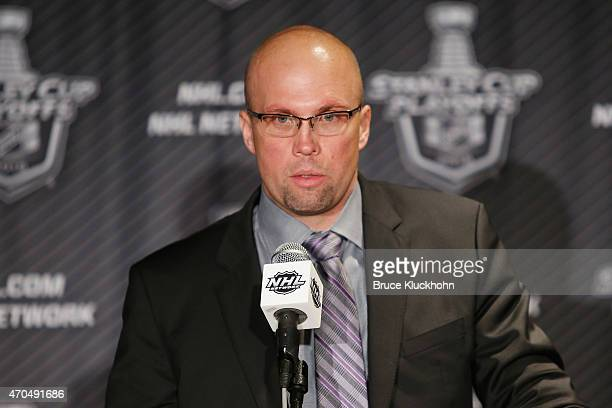 Minnesota Wild head coach Mike Yeo speaks during the the post game press conference after his team defeated the St Louis Blues in Game Three of the...