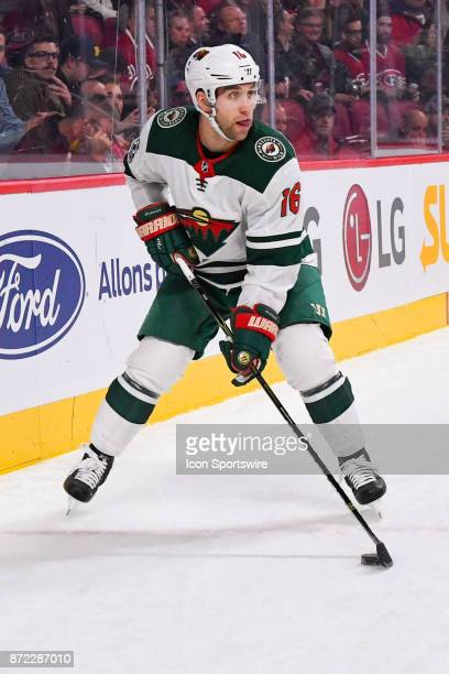 Minnesota Wild Left Wing Jason Zucker looks for a pass target during the Minnesota Wild versus the Montreal Canadiens game on November 9 at Bell...