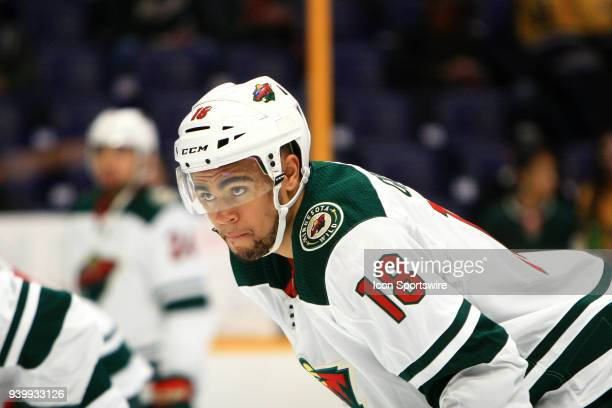Minnesota Wild left wing Jordan Greenway is shown prior to his first NHL game between the Nashville Predators and Minnesota Wild, held on March 27 at...