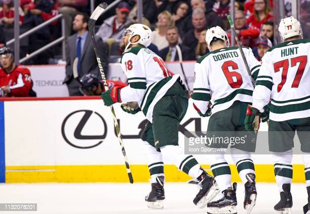 Minnesota Wild left wing Jordan Greenway looks up at his goal in the first period during the game against the Washington Capitals on March 22 at the...