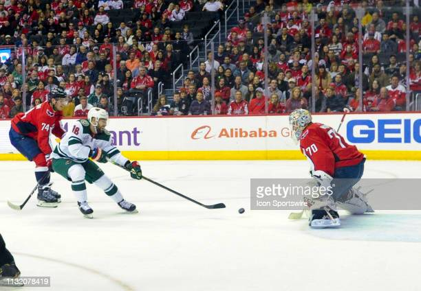 Minnesota Wild left wing Jordan Greenway scores in the first period against Washington Capitals goaltender Braden Holtby on March 22 at the Capital...