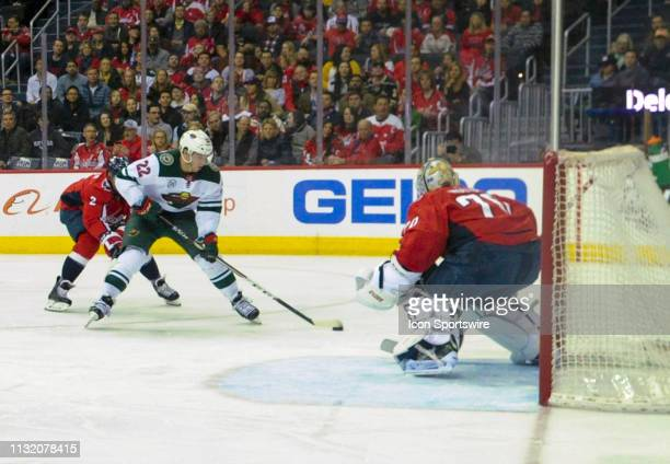 Minnesota Wild left wing Kevin Fiala takes a shot on goal in the first period against Washington Capitals goaltender Braden Holtby on March 22 at the...