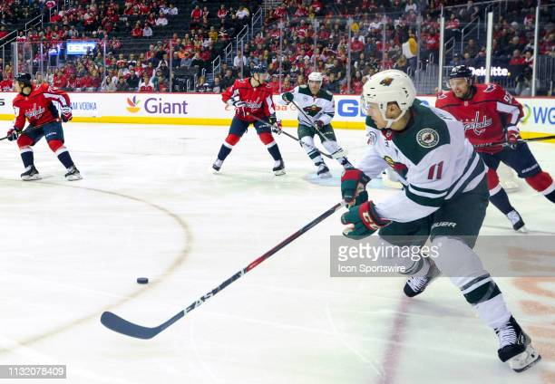 Minnesota Wild left wing Zach Parise skates with the puck in the first period agains the Washington Capitals on March 22 at the Capital One Arena in...