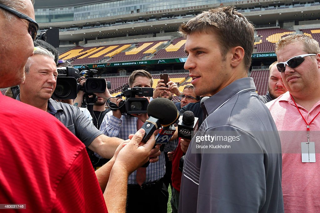 2016 coors light nhl stadium series media availability photos and minnesota wild player zach parise talks with the media at a press conference to the 2016 mozeypictures