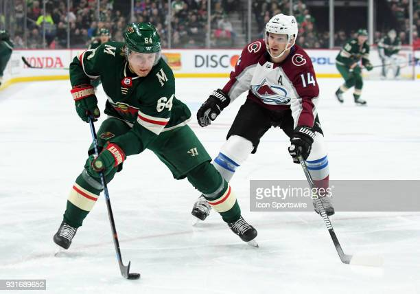 Minnesota Wild Right Wing Mikael Granlund makes a centering pass during a NHL game between the Minnesota Wild and Colorado Avalanche on March 13 2018...