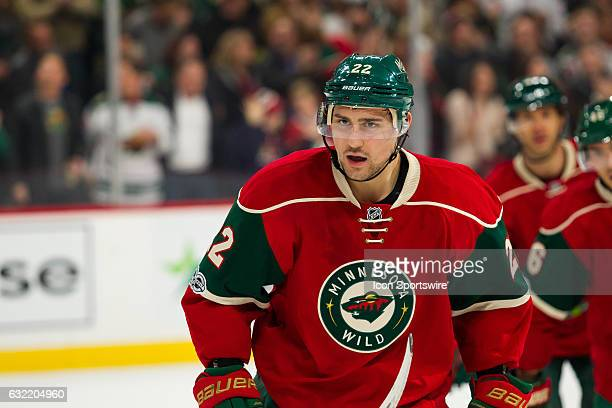 Minnesota Wild right wing Nino Niederreiter celebrates after scoring in the 1st period to give the Wild a 21 lead in the 1st period during the...