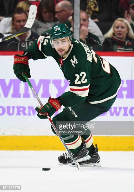 Minnesota Wild Right Wing Nino Niederreiter skates with the puck during a NHL game between the Minnesota Wild and Philadelphia Flyers on November 14...