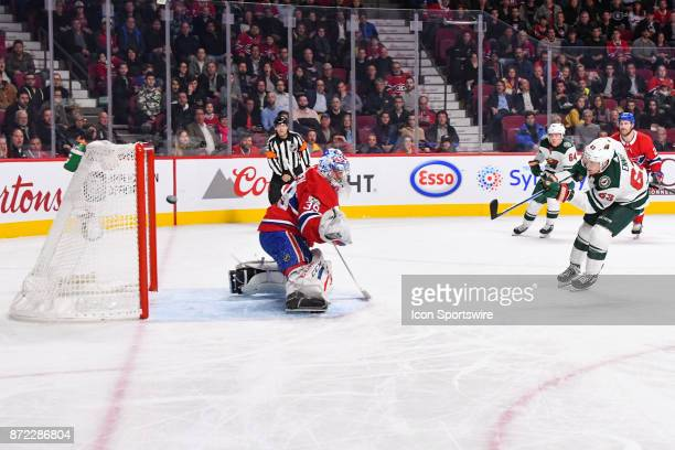 Minnesota Wild Right Wing Tyler Ennis shoots on Montreal Canadiens Goalie Charlie Lindgren but misses the target during the Minnesota Wild versus the...