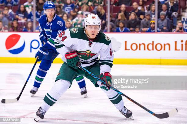 Minnesota Wild Winger Mikael Granlund watches the play during their NHL game against the Vancouver Canucks at Rogers Arena on February 4 2017 in...
