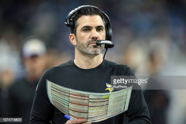 Minnesotas Vikings interim offensive coordinator Kevin Stefanski is seen during the first half of an NFL football game against the Detroit Lions in...