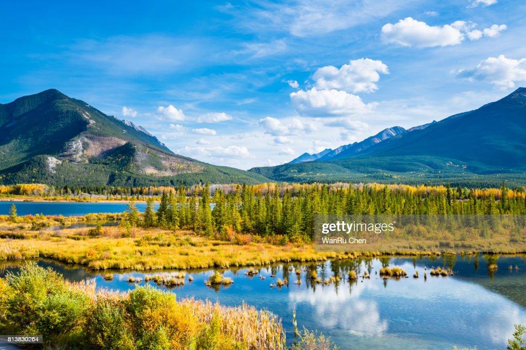 Minnewanka lake in Canadian Rockies in Banff Alberta Canada : Stock Photo