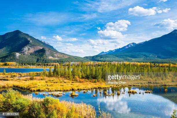 minnewanka lake in canadian rockies in banff alberta canada - banff national park stock pictures, royalty-free photos & images