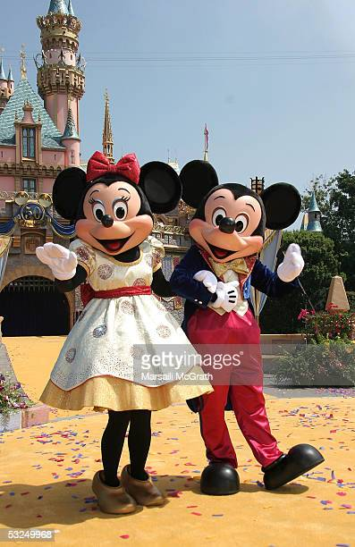 Minnie and Mickey Mouse at Disneyland's 50th Anniversary rededication ceremony held at Disneyland on July 17 2005 in Anaheim California