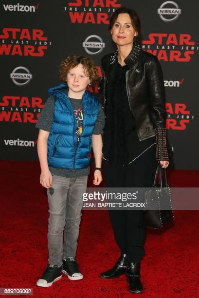 Minnie Driver and Henry Driver arrive for the premiere of Disney Pictures and Lucasfilm's 'Star Wars The Last Jedi' at The Shrine Auditorium in Los...