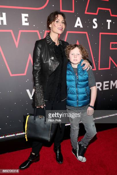 Minnie Driver and Henry Story Driver at Star Wars The Last Jedi Premiere at The Shrine Auditorium on December 9 2017 in Los Angeles California
