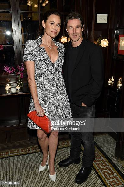 Minnie Driver and Neville Wakefield attend the 2015 Tribeca Film Festival CHANEL Artists Dinner at Balthazer on April 20 2015 in New York City