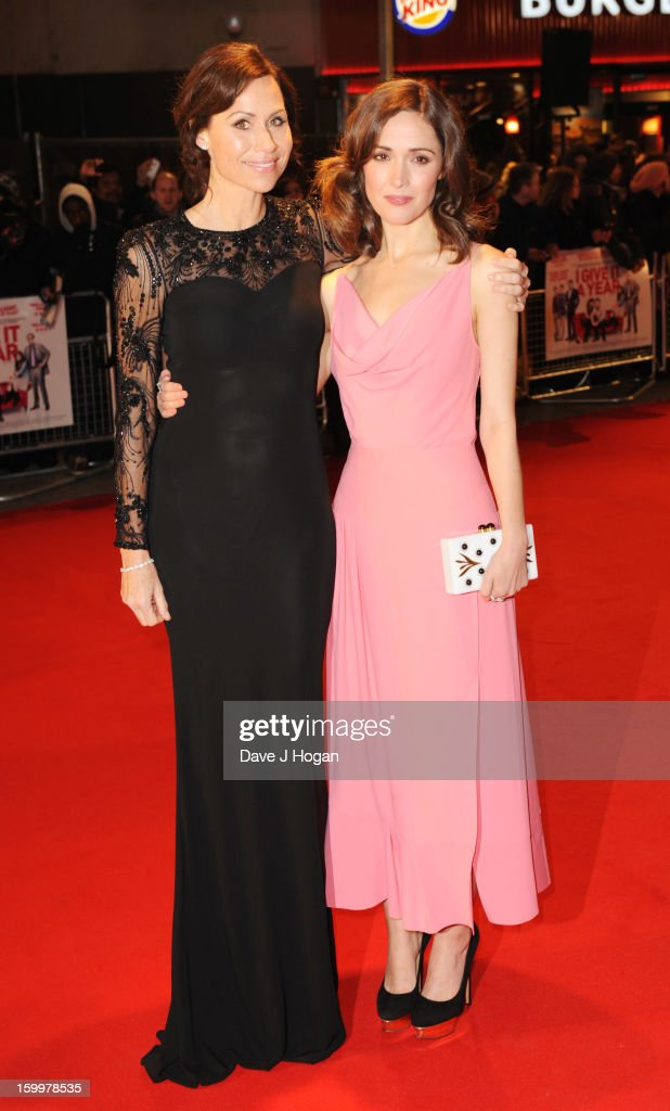 Minnie Driver and Rose Byrne attend the European premiere of 'I Give It A Year' at The Vue West End on January 24, 2013 in London, England.