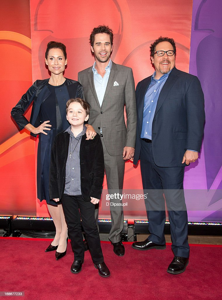 Minnie Driver, Benjamin Stockham, David Walton, and Jon Favreau attend the 2013 NBC Upfront Presentation Red Carpet Event at Radio City Music Hall on May 13, 2013 in New York City.