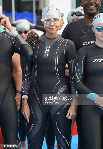 Minnie Driver during the Children With Cancer UK Swim Serpentine in Hyde Park on September 18, 2021 in London, England.