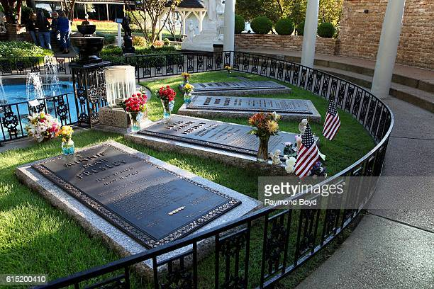 Minnie Mae Presley Elvis Presley Vernon Presley and Gladys Presley's burial sites in 'Meditation Garden' at Graceland home of the late Elvis Presley...